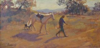 An Acrylic painting by Penelope Gilbert-Ng in the Realist Impressionist style  depicting Animals Horses and Rural with main colour being Brown and titled Off to Work