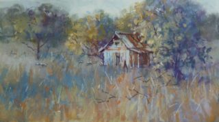 A Pastel painting by Penelope Gilbert-Ng in the Realist Impressionist style  depicting Landscape Buildings Rural and Sheds with main colour being Blue Brown and Cream and titled Old House