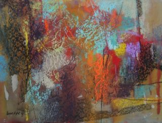 A Pastel painting by Penelope Gilbert-Ng in the Abstract style  with main colour being Blue Brown and Grey and titled Webs we Weave