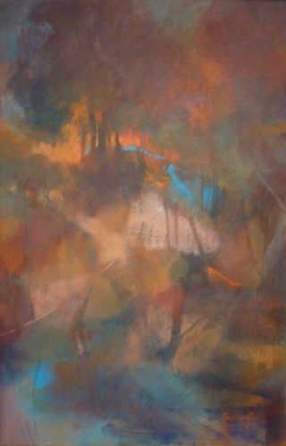 An Acrylic painting by Penelope Gilbert-Ng in the Abstract style  with main colour being Blue Brown and Orange and titled Earthly Riches
