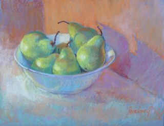 A Pastel painting by Penelope Gilbert-Ng in the Realist Impressionist style  depicting Fruit with main colour being Blue Green and Grey and titled Pears