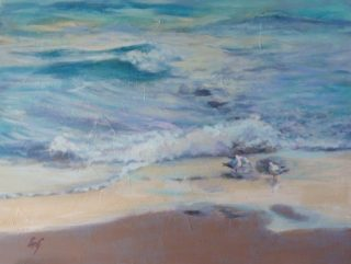An Acrylic painting by Penelope Gilbert-Ng in the Realist Impressionist style  depicting Beach with main colour being Blue Brown and Ochre and titled Sunset Glow