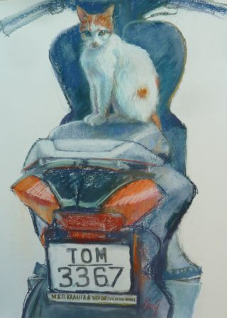 A Pastel painting by Penelope Gilbert-Ng in the Realist Impressionist style  depicting Animals Cats with main colour being Blue Grey and Red and titled Tom Ready for a Ride