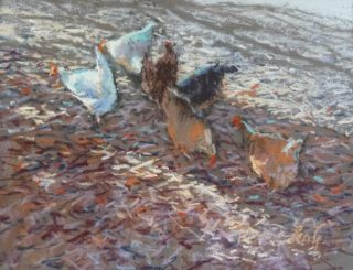 A Pastel artwork by Penelope Gilbert-Ng in the Realist Impressionist style  depicting Animals Birds and Rural with main colour being Blue Brown and Grey and titled City Chooks