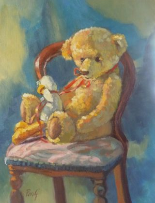 An Oil painting by Penelope Gilbert-Ng in the Realist Impressionist style  depicting Still Life Children's Toys with main colour being Blue Brown and Green and titled Duck and Teddy