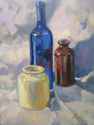 An Oil painting by Penelope Gilbert-Ng in the Impressionist style  depicting Still Life Bottles with main colour being Blue Brown and Cream and titled Still Life