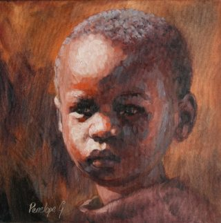 An Oil painting by Penelope Gilbert-Ng in the Realist Impressionist style  depicting People Boy with main colour being Black Brown and Orange and titled Hope