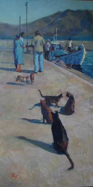An Acrylic painting by Penelope Gilbert-Ng in the Realist Impressionist style  depicting People Animals Boats and Cats with main colour being Black Blue and Brown and titled Catch of the Day