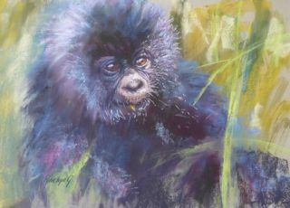 A  painting by Penelope Gilbert-Ng in the Realist style  Animals with main colour being Green and Grey and titled Caught Out