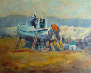 An Acrylic painting by Penelope Gilbert-Ng in the Realist Impressionist style  depicting Boats Beach with main colour being Blue and Ochre and titled Maintanence