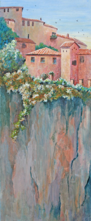 An Acrylic painting by Maxine Collins in the Realist Impressionist style  depicting Landscape Buildings and Hills with main colour being Green Grey and Orange and titled Perched On High, Italy