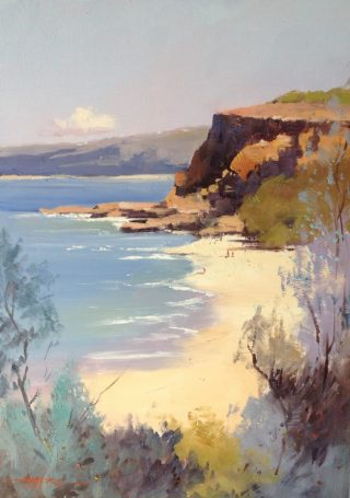An Oil painting by Richard Chamerski in the Impressionist style  depicting Landscape Beach Water and Waves with main colour being Blue Brown and Cream and titled Red Bluff