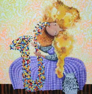 An Acrylic painting by Yelena Revis in the Abstract style  depicting Woman Fantasy Girl and People with main colour being Black Gold and Ochre and titled Dreamtime jazz