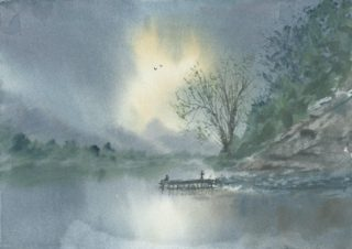 A Watercolour artwork by Steven Scott depicting  Water and titled Calm Reflections