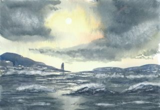 A Watercolour artwork by Steven Scott depicting  Sea and titled Decades in the Sun