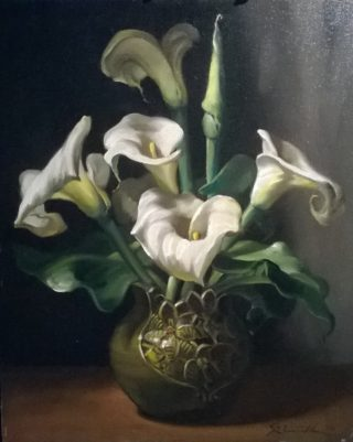 An Oil painting by Gregory R Smith in the Realist style  depicting Still Life Flowers and Vases with main colour being Black Cream and Grey and titled Arums II
