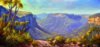 An Oil painting by Christopher Vidal in the Realist style  depicting Landscape Mountains with main colour being Blue and titled Govetts Leap Lookout, Blue Mountains