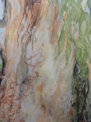A Pastel painting by Helen Paulucci depicting Trees with main colour being Blue Green and Grey and titled Gumtree