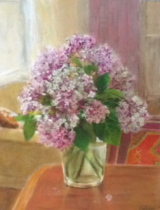 An Acrylic painting by Helen Paulucci in the Impressionist style  depicting Flowers with main colour being Blue Brown and Green and titled Hydrangeas on a Cedar Table