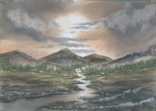 A Watercolour artwork by Steven Scott depicting  Mountains River and Sunset and titled Over the Mountains