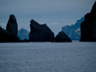 A  photograph by Philip Bell depicting Water with main colour being Blue and titled St Kilda Stacs