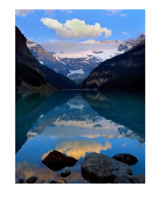 A  photograph by Philip Bell depicting Landscape with main colour being Blue Brown and Grey and titled Lake Louise VII