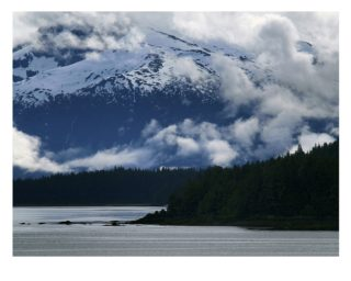 A  photograph by Philip Bell depicting Landscape Mountains Snow and Water with main colour being Black Blue and Grey and titled Inside Passage