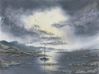A Watercolour artwork by Steven Scott in the Realist Impressionist style  depicting Landscape Boats Hills and River with main colour being Blue and Grey and titled Journey to Serenity