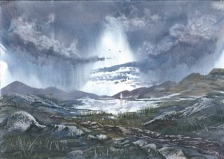 A Watercolour artwork by Steven Scott depicting  Mountains and Storm and titled Gothic Dreamland
