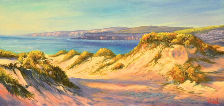Oil Painting by Christopher Vidal titled Warm Shadows at Red Bank Beach, Port Lincoln SA