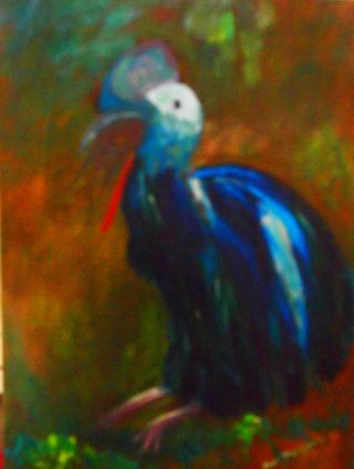 An Oil painting by Margaret Morgan-Watkins in the Realist Impressionist style  depicting Animals Birds with main colour being Black Blue and Brown and titled Giant Cassowary - Mega fauna