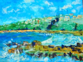 An Oil painting by Margaret Morgan-Watkins in the Impressionist style  depicting Sea Beach and Rocks with main colour being Blue Brown and Cream and titled Convent Beach Yamba NSW