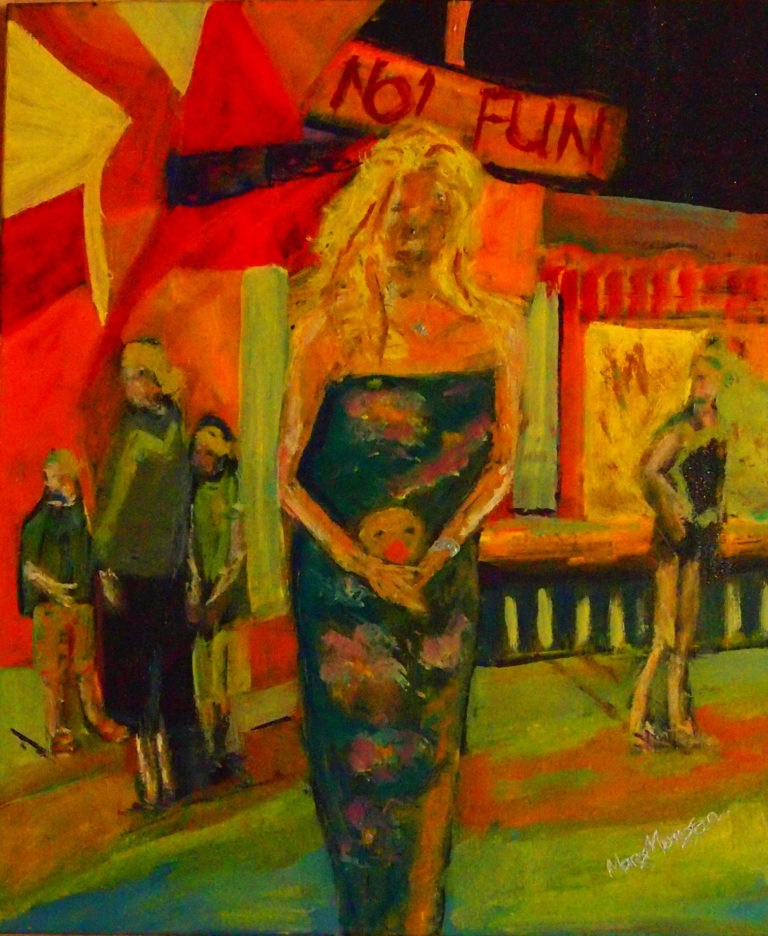 Oil Painting by Margaret Morgan-Watkins titled At the carnival in Yamba NYE