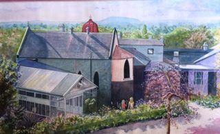 A Watercolour painting by Glenys Gaston in the Contemporary Realist style  depicting Buildings Garden and Rural with main colour being Blue Green and Grey and titled Convent Gallery Daylesford