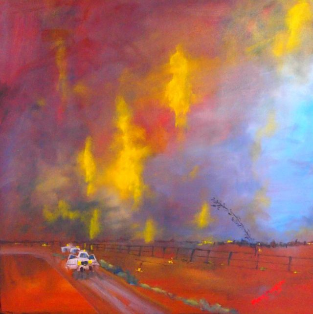 Oil Painting by Margaret Morgan-Watkins titled Fire and the Night Sky