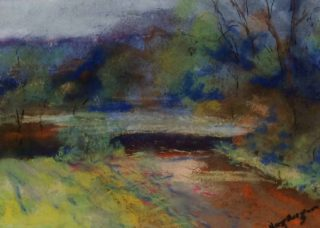 A Pastel painting by Margaret Morgan-Watkins in the Impressionist style  depicting Landscape Bush Garden and Trees with main colour being Blue Brown and Ochre and titled Frosty morn Kilmore East VIC