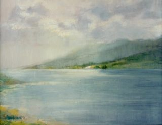 A  painting by Helen Paulucci depicting  Sea and Water and titled Seascape