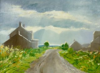 A  painting by Helen Paulucci Buildings and Sea and titled Road to the Sea