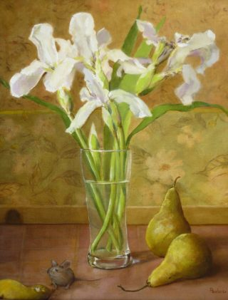 An Oil painting by Helen Paulucci in the Realist Impressionist style  depicting Flowers Kitchenware and Vases with main colour being Cream Green and Ochre and titled White Irises and Pears