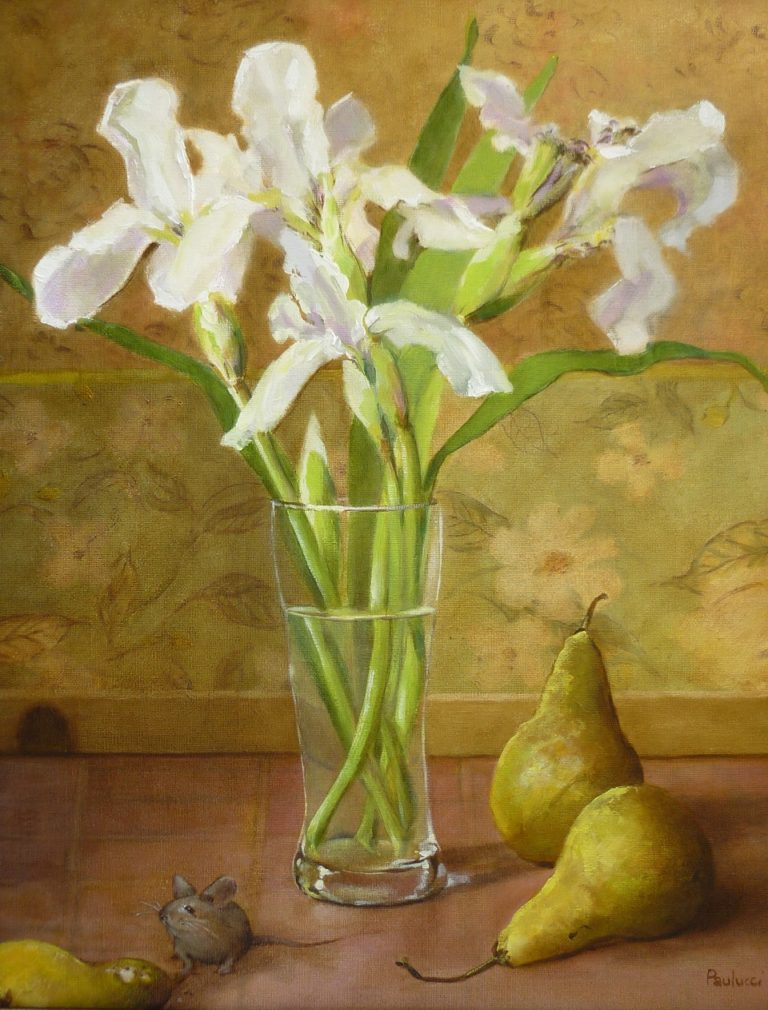 Painting by Helen Paulucci titled White Irises and Pears