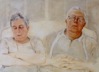 A  painting by Helen Paulucci People and titled Joe and Joan It Was a Long Day