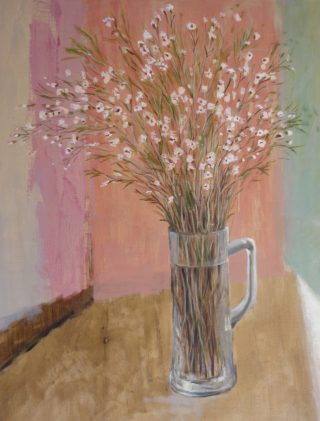 An Acrylic painting by Helen Paulucci in the Impressionist style  depicting Flowers and Vases with main colour being Brown and Pink and titled Spray of Flowers in a Glass Stein