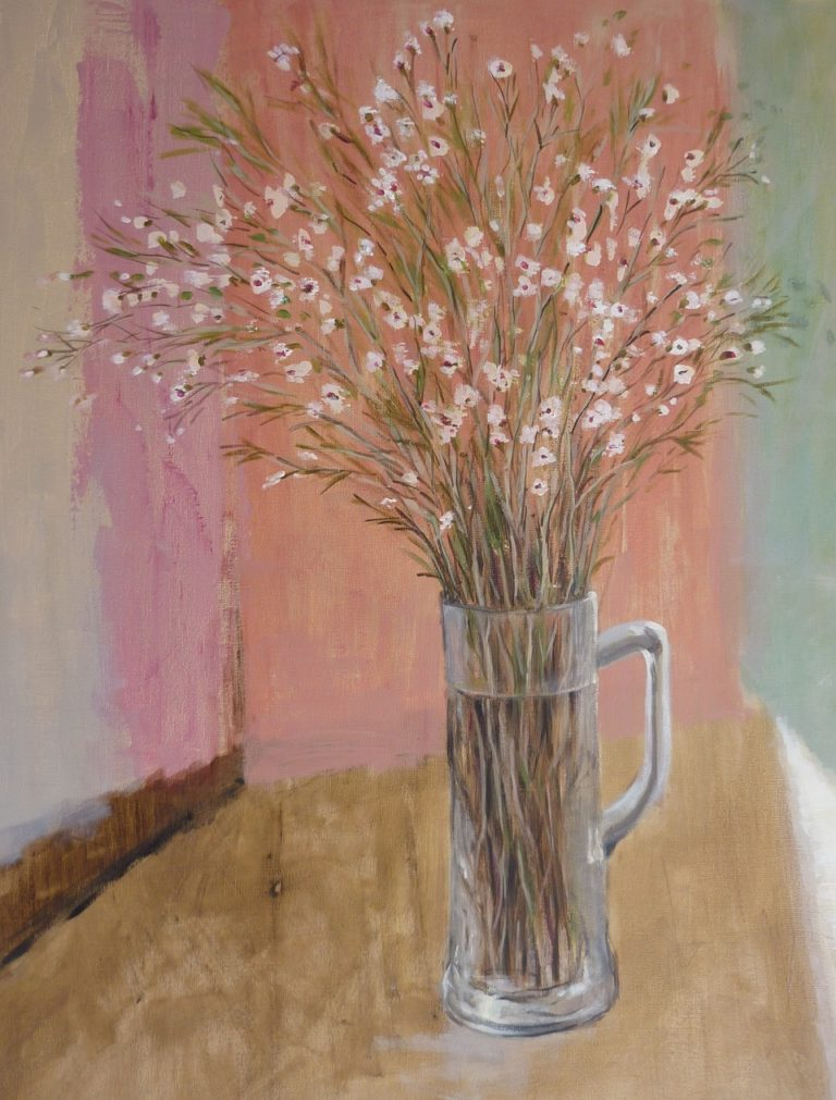 Painting by Helen Paulucci titled Spray of Flowers in a Glass Stein