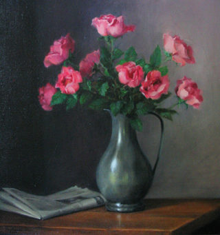 A  painting by Helen Paulucci Flowers and Vases with main colour being Grey and Pink and titled Pink Roses