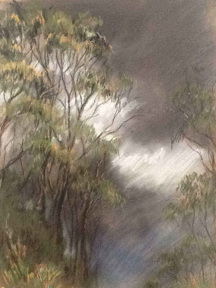 Painting by Helen Paulucci titled Gumtrees and Stormy Sky