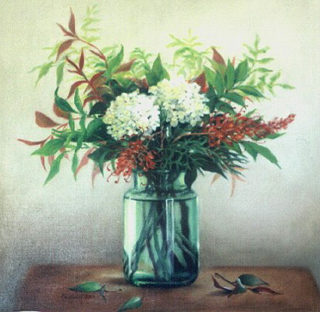 A  painting by Helen Paulucci depicting  Flowers and titled Hydrangeas