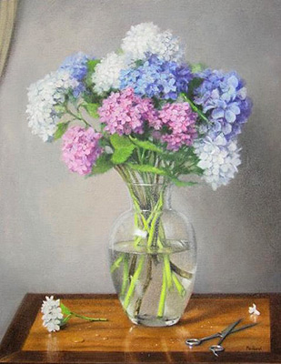A  painting by Helen Paulucci Flowers and titled Hydrangeas with Scissors
