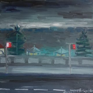 An Oil painting by Jennifer Baird in the Impressionist style  depicting Seascape Beach Rain and Storm with main colour being Grey and titled Rainy day, Bondi