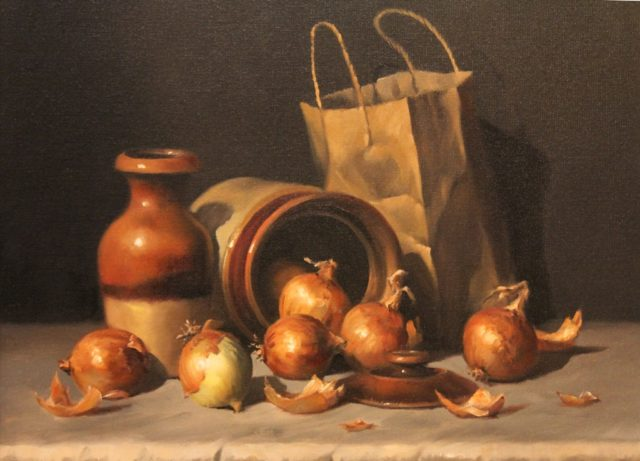 Oil Painting by Gregory R. Smith titled Out of the Bag, Onions