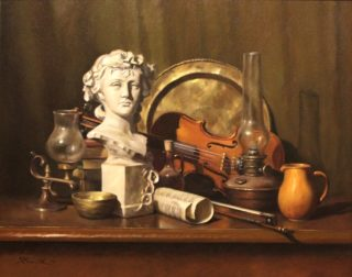 An Oil painting by Gregory R. Smith in the Realist Impressionist style  depicting Still Life Books Bottles and Drapery and titled Spring Girl and Shadowed Strings